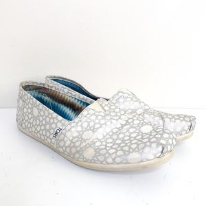 Toms White Silver Canvas Shoes Size 12 Womens